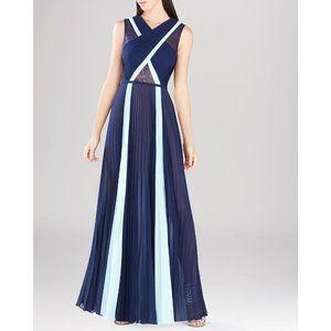 BCBGMAXAZRIA Blue Colorblocked Pleated Maxi Gown